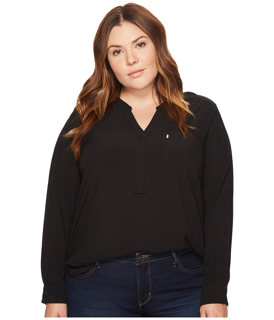 Levis(r) Plus - Plus Size Easy Popover Long Sleeve Woven (Jet Black) Womens Long Sleeve Pullover