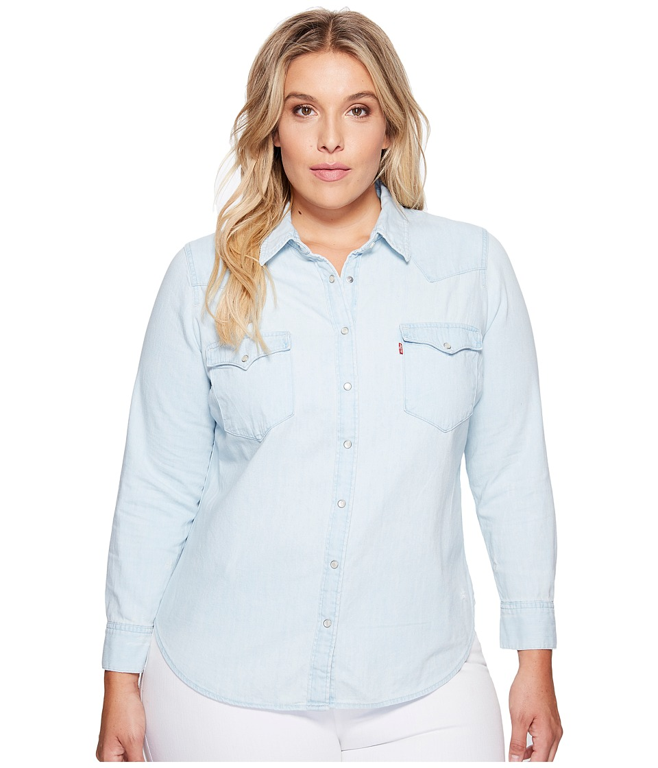 Levis(r) Plus - Western Long Sleeve Woven (Frances Blue) Womens Long Sleeve Pullover