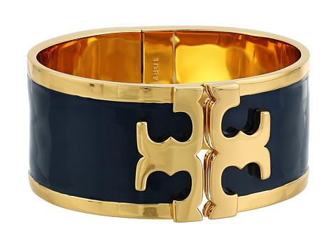 Tory Burch Enamel Raised Logo Wide Cuff Bracelet - Tory Navy/Tory Gold