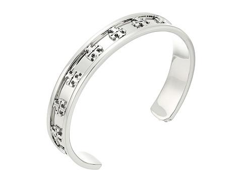 Tory Burch Raised Logo Cuff Bracelet - Tory Silver