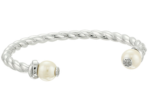 Tory Burch Rope Logo Bead Cuff Bracelet - Ivory/Tory Silver