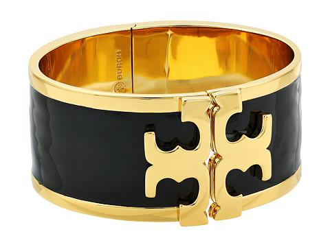 Tory Burch Enamel Raised Logo Wide Cuff Bracelet - Black/Tory Gold