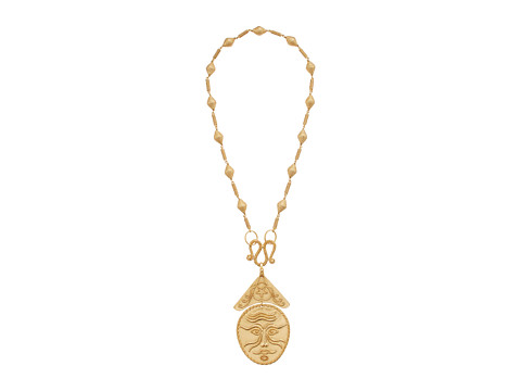 Tory Burch Sculptural Face Statement Necklace - Vintage Gold