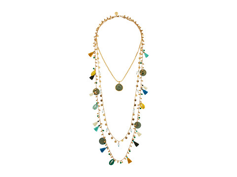 Tory Burch Tassel Multi-Layering Necklace - Blue/Vintage Gold