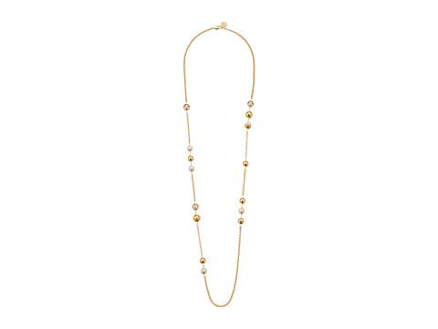 Tory Burch Capped Crystal Pearl Chain Rosary - Ivory/Tory Gold