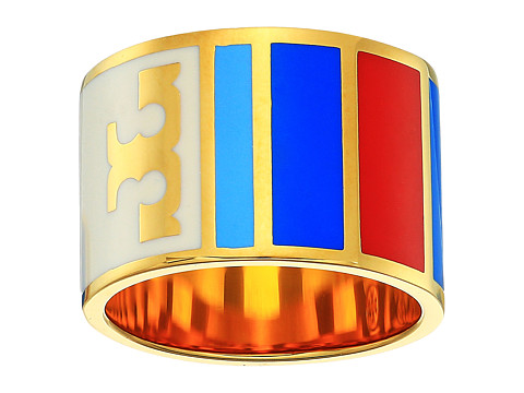 Tory Burch Geo Striped Ring - Red Volcano/Tory Gold