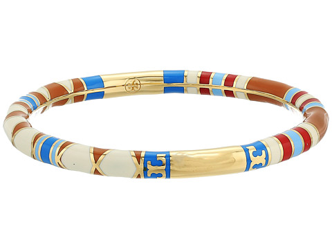 Tory Burch Geo Striped Bangle - Red Volcano/Tory Gold
