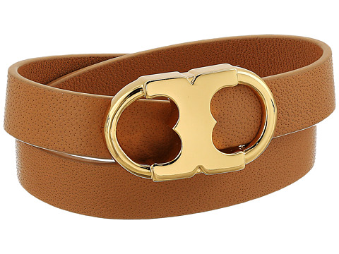 Tory Burch Gemini Link Double-Wrap Bracelet - Aged Vachetta/Tory Gold