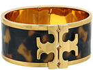Tory Burch Raised Logo Print Wide Cuff Bracelet