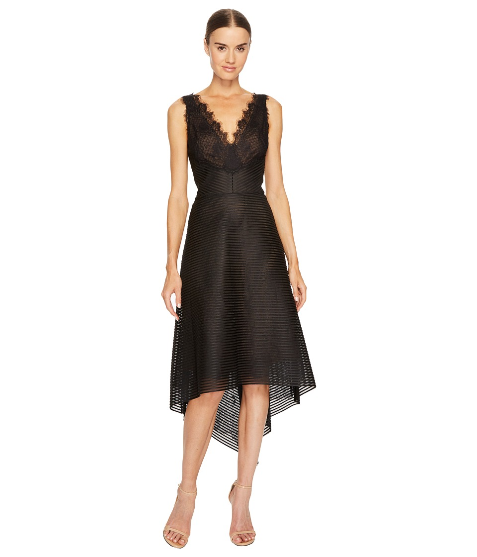 Marchesa Notte Striped Neoprene V-Neck High-Low Lace Dress (Black) Women