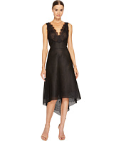 Marchesa Notte - Striped Neoprene V-Neck High-Low Lace Dress