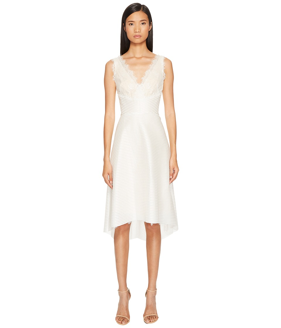 Marchesa Notte Striped Neoprene V-Neck High-Low Lace Dress (Ivory) Women