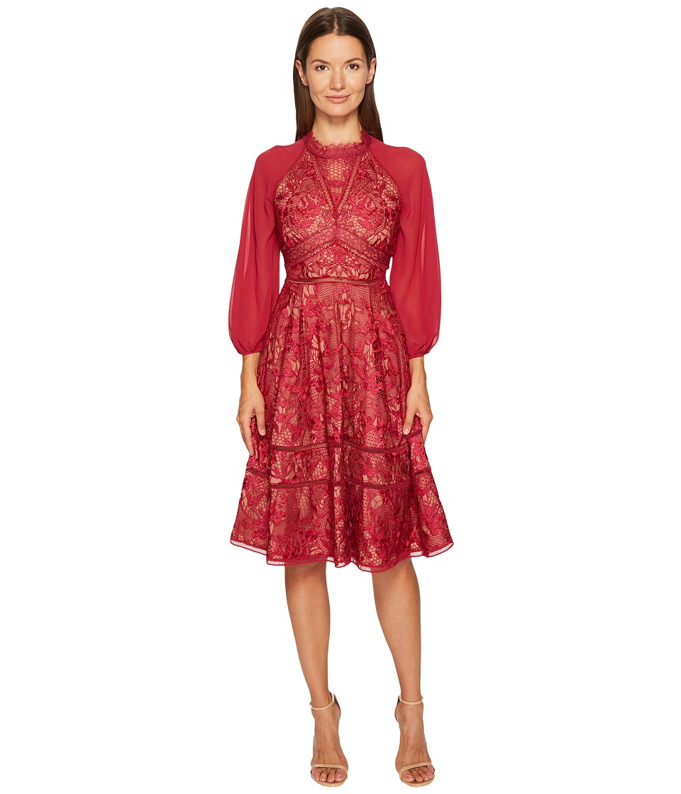 Marchesa Notte Giupure A-Line Cocktail Chiffon and Lace Dress (Wine) Women