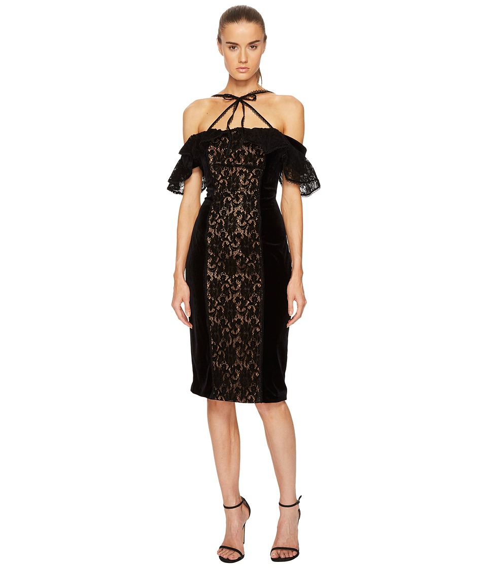 Marchesa Notte Stretch Velvet Off Shoulder Gown (Black) Women