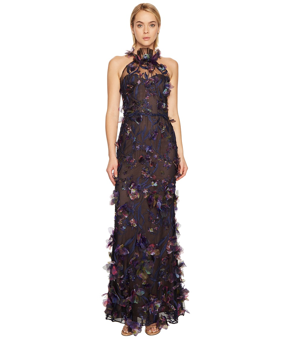 Marchesa Notte - 3D Floral Halter Gown w/ Embroidery