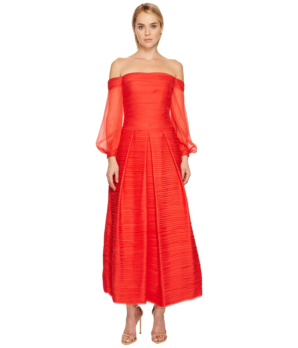Marchesa Notte Crinkle Chiffon A-Line V-Neck Tea Length Gown (Red) Women