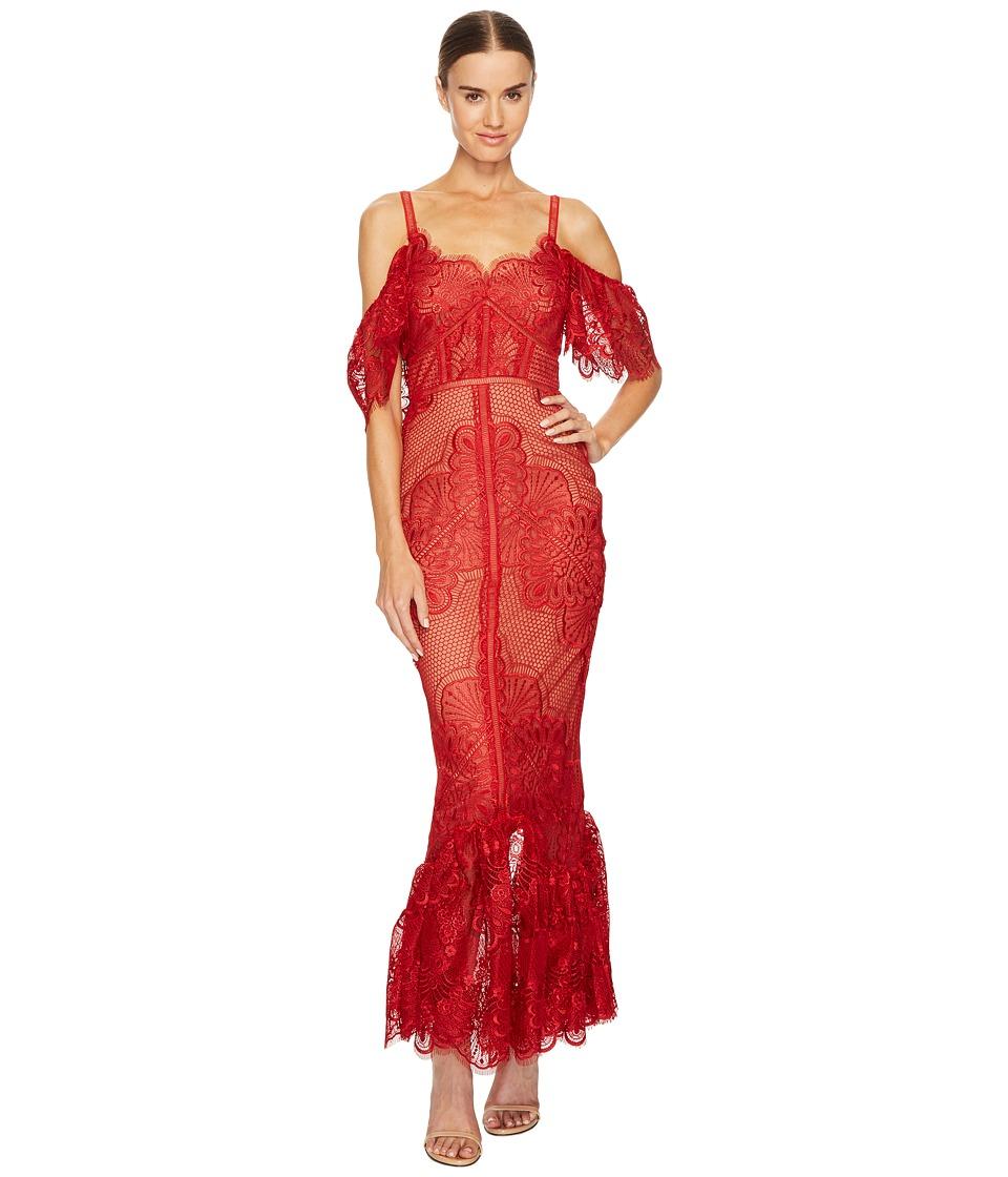 Marchesa Notte - Off the Shoulder Giupure Tea Length Gown
