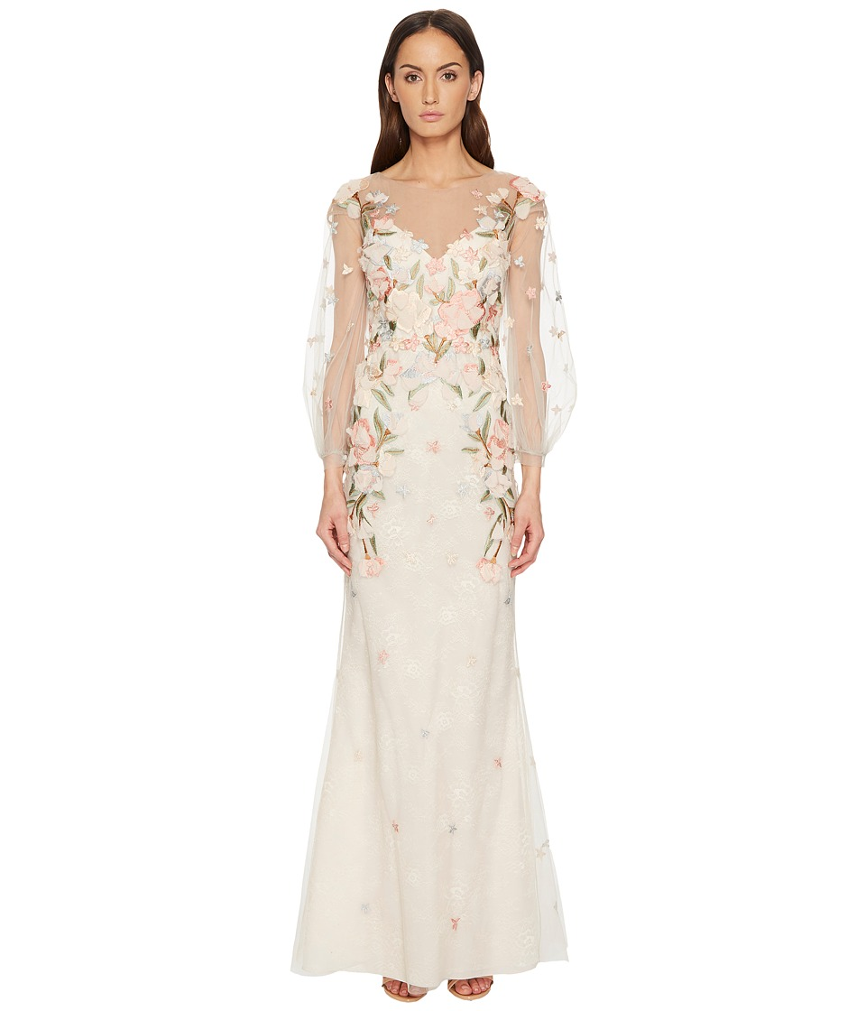 Marchesa Notte Embroidery Embellished Gown (Blush) Women