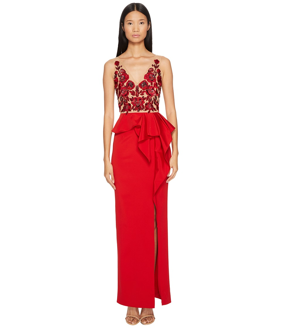 Marchesa Notte - Faille Column Gown w/ Beaded Floral Bodice