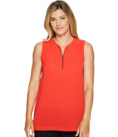 Vince Camuto - Sleeveless Mix Media Zip Neck Top