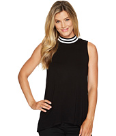 Vince Camuto - Sleeveless Rib Mock Neck High-Low Hem Top
