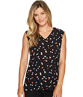 Vince Camuto - Multi Dot Mix Media Texture Front V-Neck Top