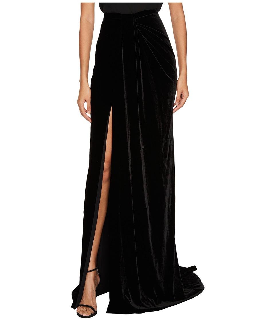 Marchesa - Draped Velvet Sarong Skirt (Black) Womens Skirt