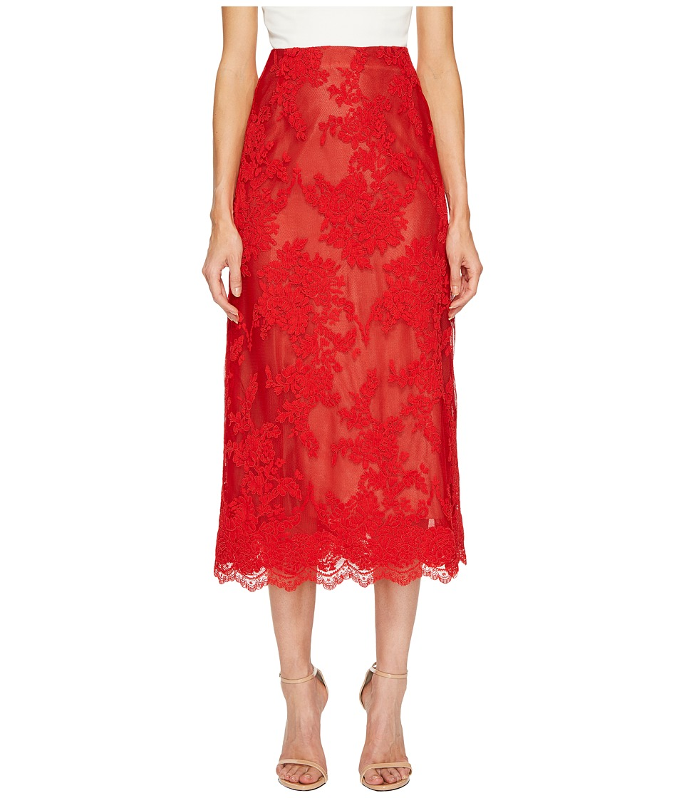 Marchesa - Corded Lace Tea Length Skirt (Red) Womens Skirt