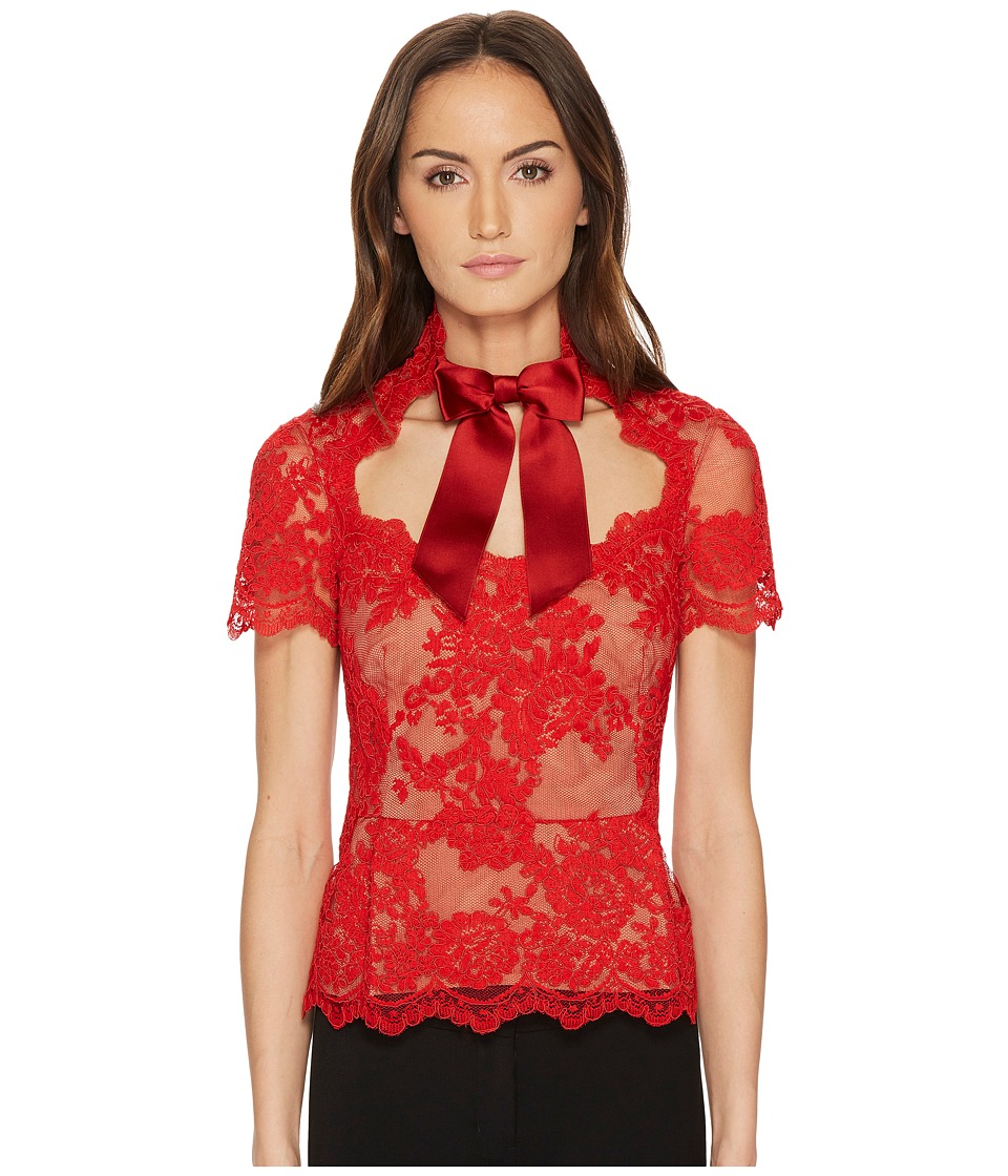 Marchesa - Short Sleeve Lace Top w/ Satin Bow