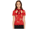 Marchesa Short Sleeve Lace Top w/ Satin Bow