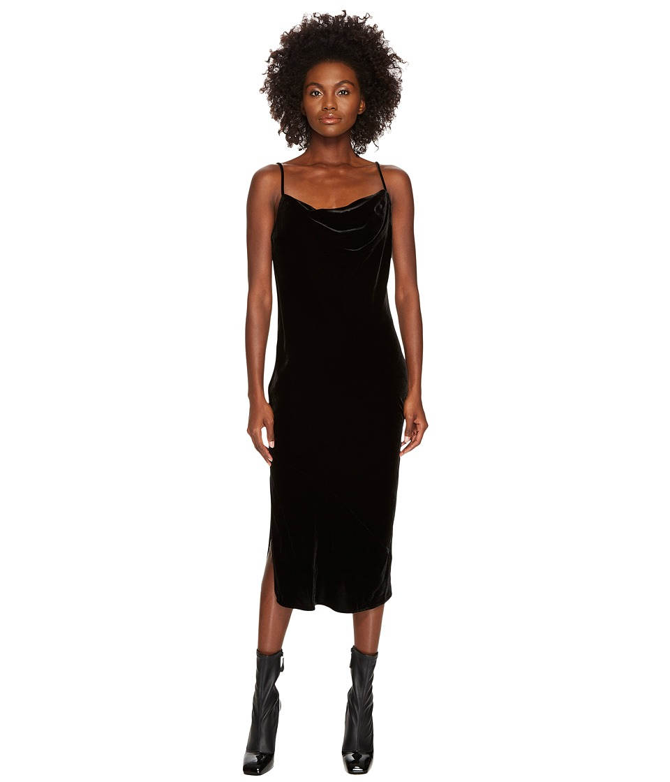 McQ Midi Camisole Soft Velvet Dress (Darkest Black) Women