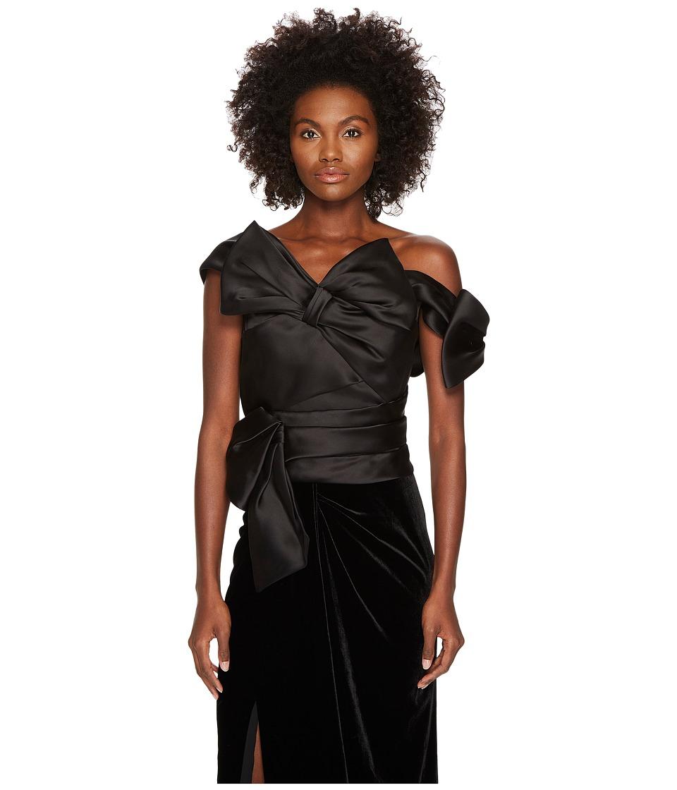 Marchesa - Satin Bow Top (Black) Womens Clothing