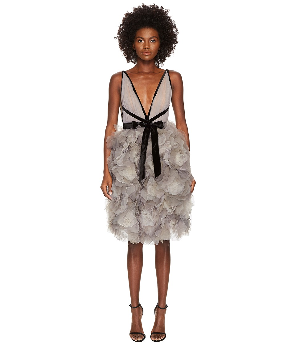Marchesa - Tulle Cocktail Dress w/ Degrade Floral Skirt (Grey) Womens Dress