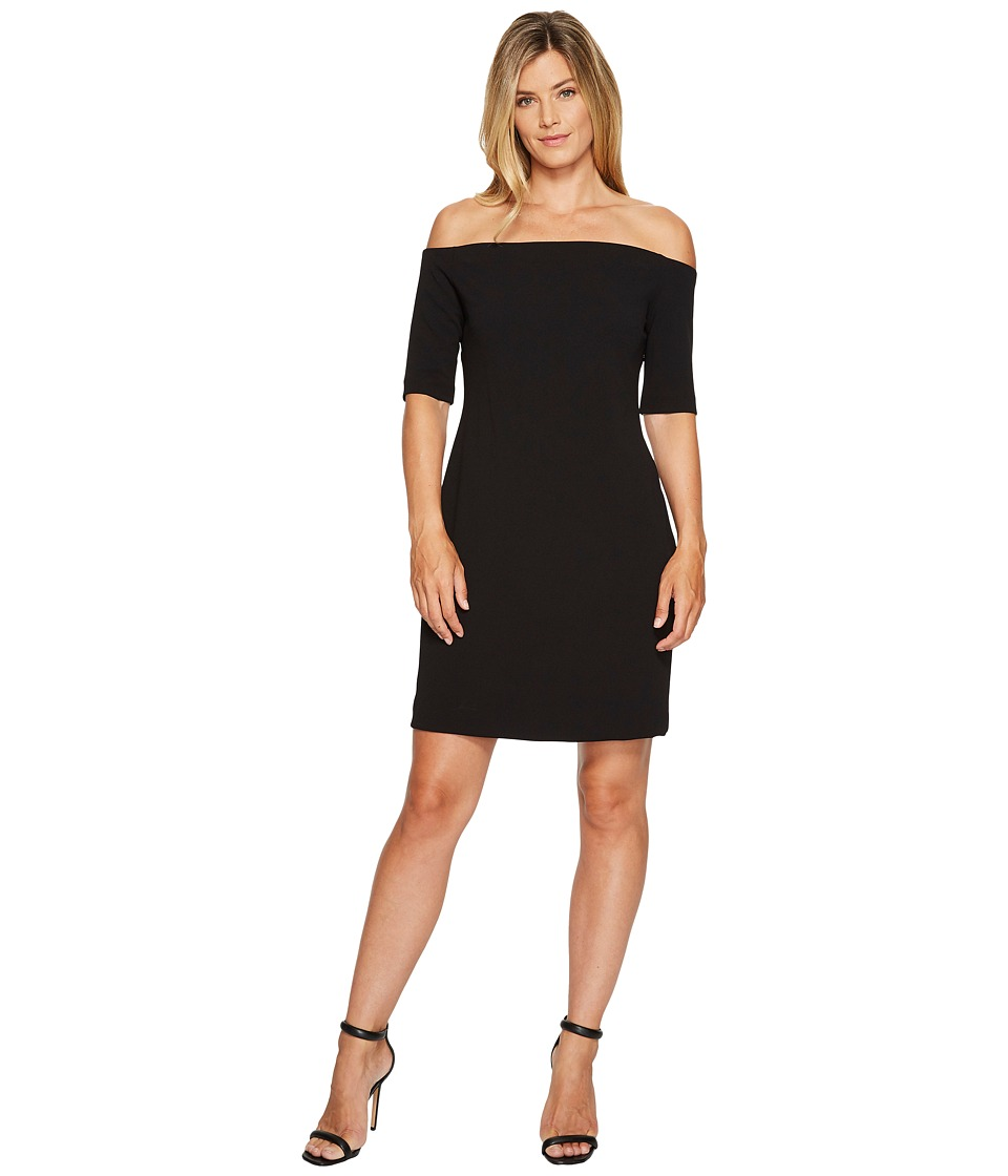 Vince Camuto Elbow Sleeve Off Shoulder Dress (Rich Black) Women