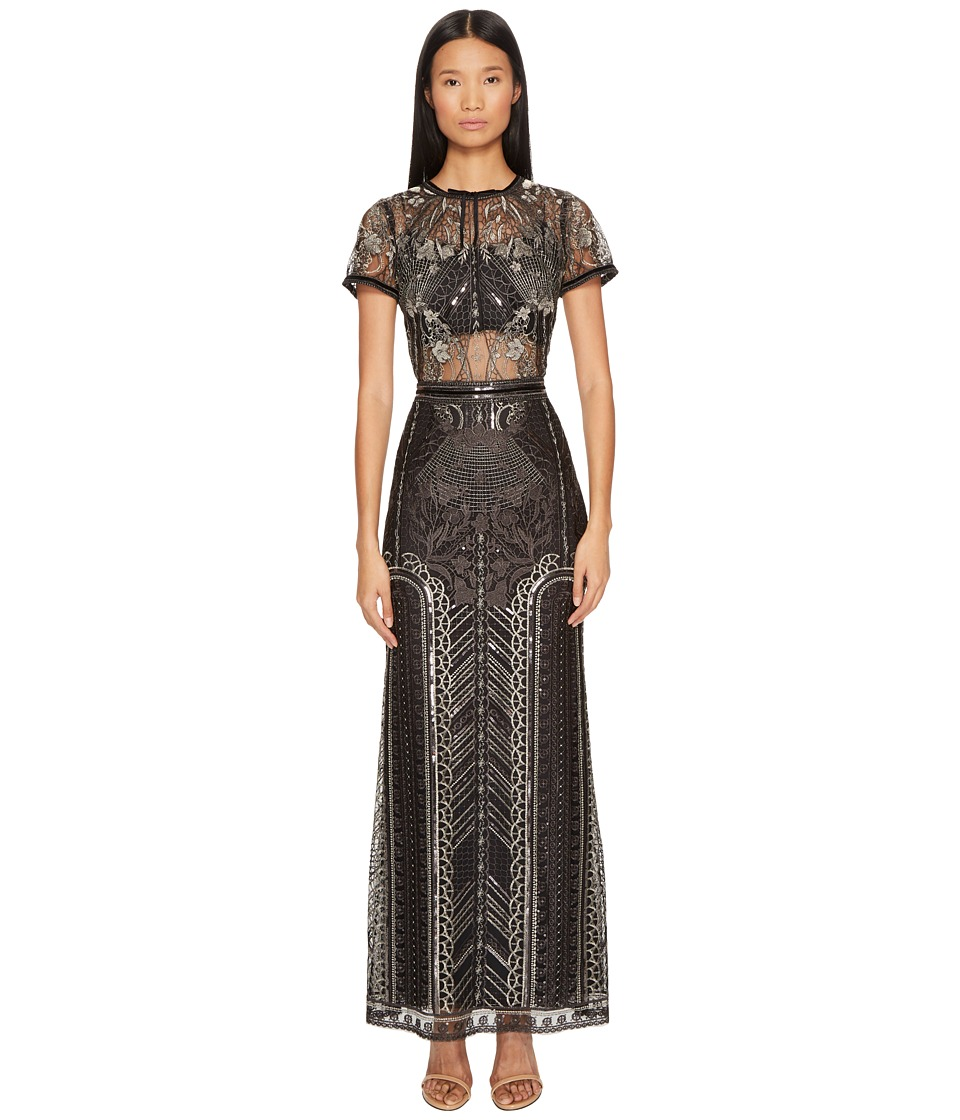 Marchesa Notte All Over Embroidered Gown w/ Cap Sleeves (Gunmetal) Women