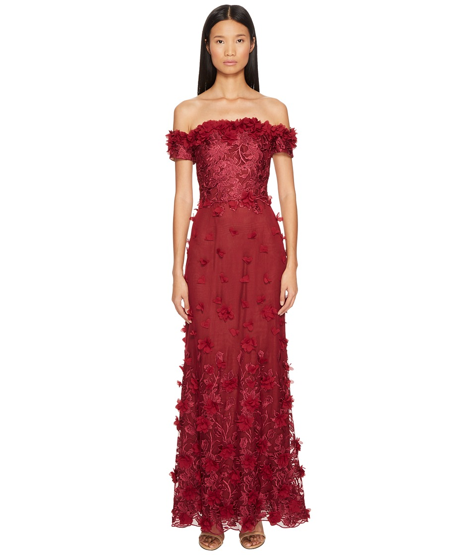 Marchesa Notte Off the Shoulder Gown w/ 3D Petals (Wine) Women