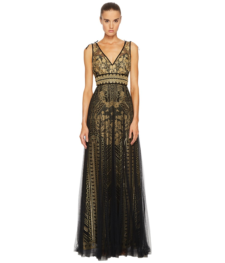 Marchesa Notte Embroidered Sleeveless Column Gown w/ Draped Tulle Overlay (Gold) Women