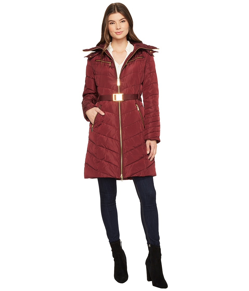Michael Kors Hooded Down with Belt M821417C (Bordeaux) Wo...