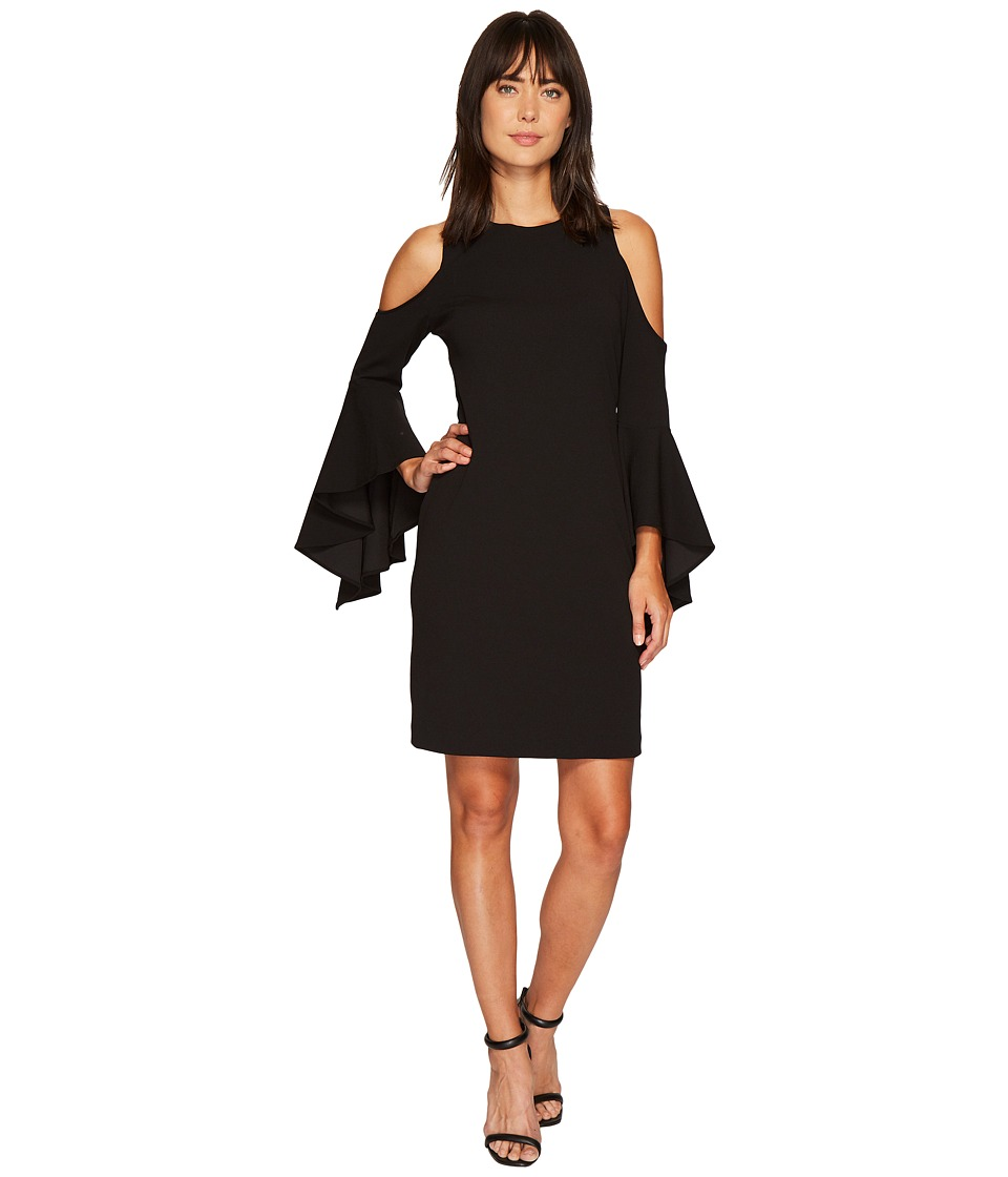 Vince Camuto Handkerchief Sleeve Cold Shoulder Dress (Rich Black) Women
