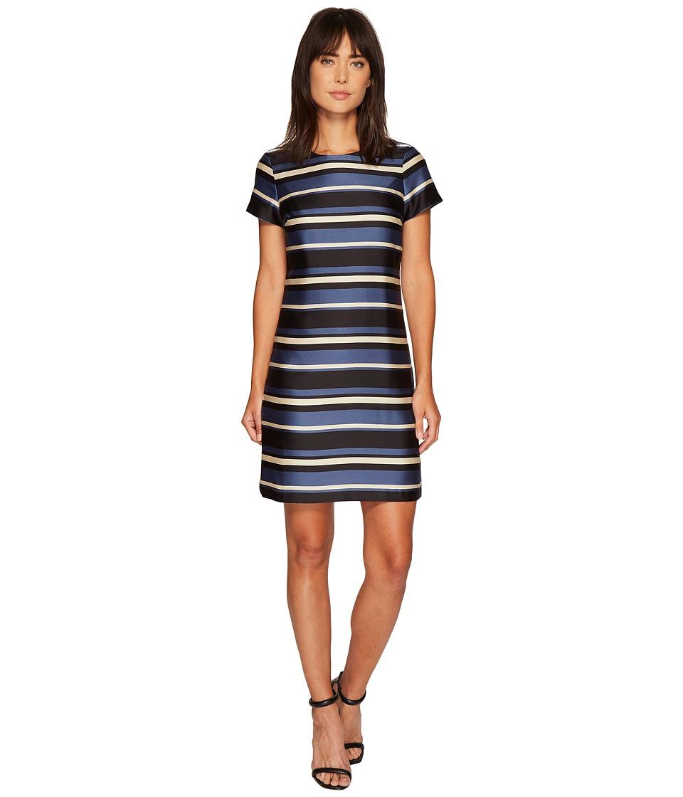 Vince Camuto Cap Sleeve Modern Chords Shift Dress (Base Blue) Women