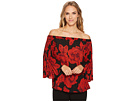 Vince Camuto Off Shoulder Pleated Wood Block Floral Blouse