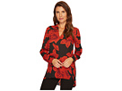 Vince Camuto Long Sleeve Wood Block Floral V-Neck Tunic
