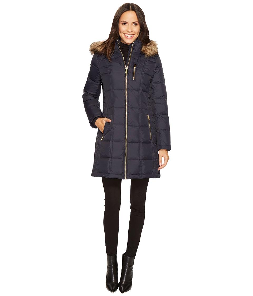MICHAEL Michael Kors Zip Front Down with Faux Fur Trim Hood M821883T (New Navy) Women