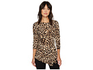 Vince Camuto 3/4 Sleeve Exotic Animal Side Ruched Top