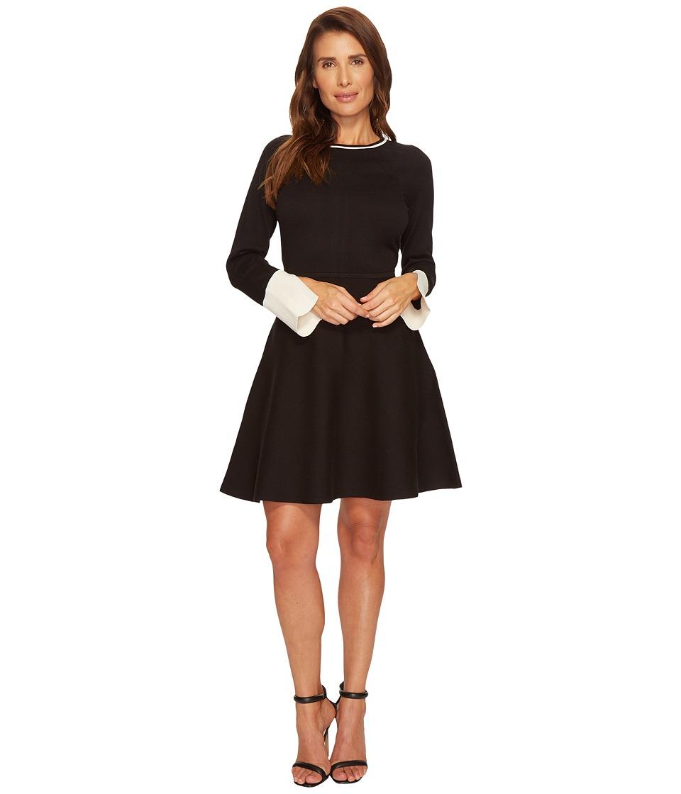 Vince Camuto Long Sleeve Split Cuff Flared Sweater Dress (Rich Black) Women