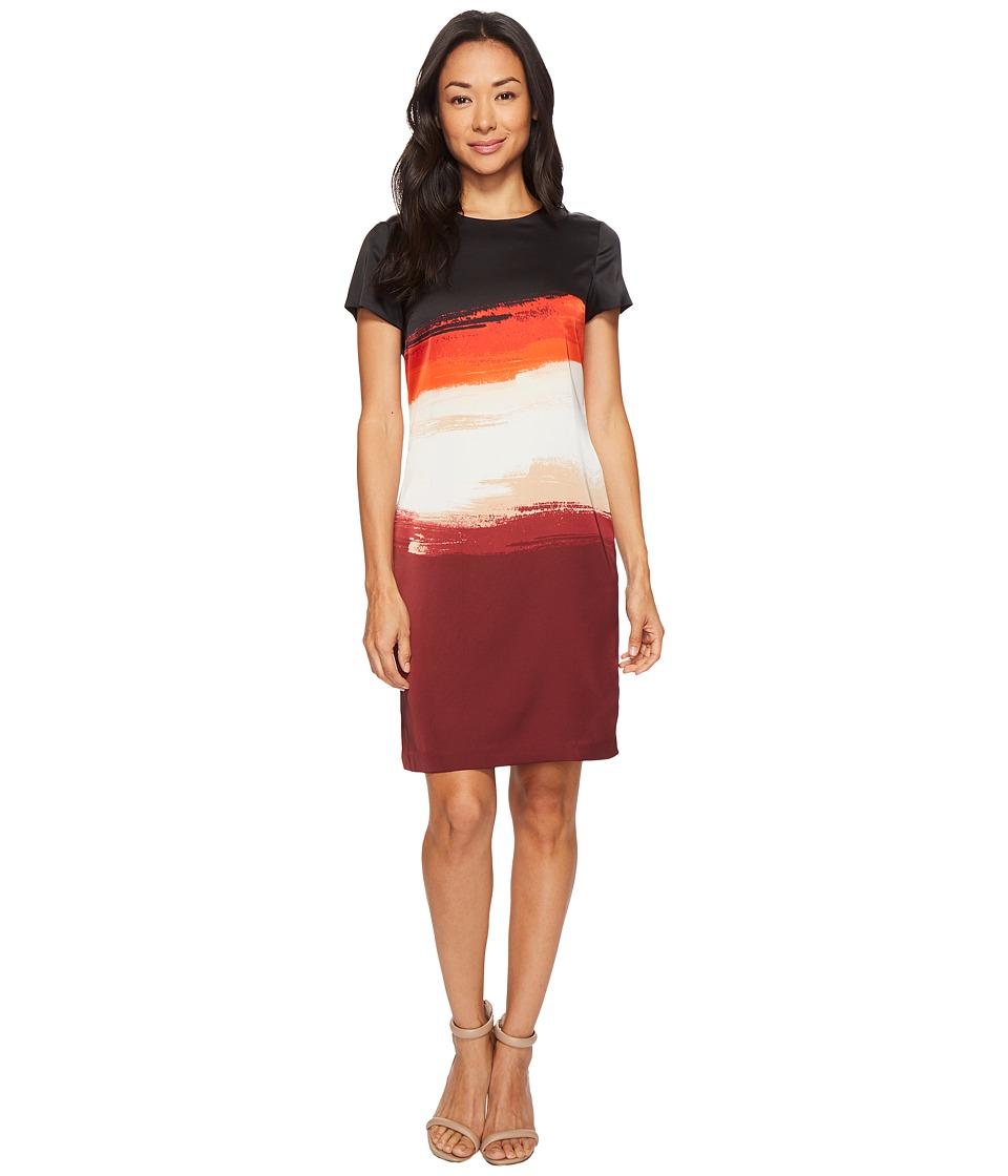 Vince Camuto Cap Sleeve Brushstroke Horizons Shift Dress (Deep Claret) Women