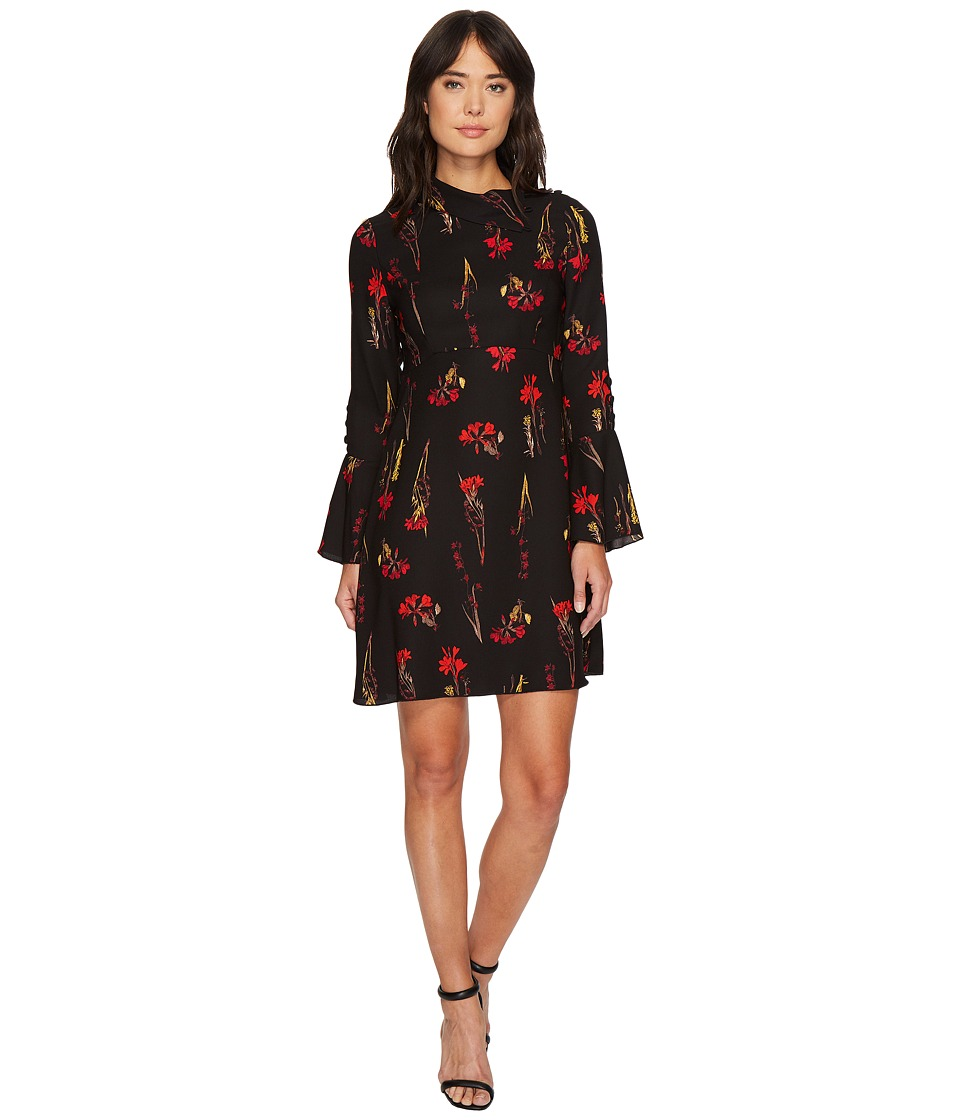 Vince Camuto Fold-Over Collar Botanical Flare Dress (Rich Black) Women