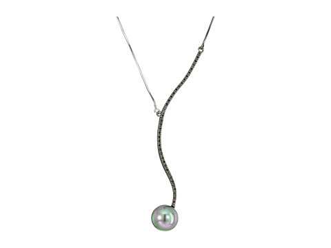 Majorica 12mm Round CZ Spiral Black Steel Necklace 16-18