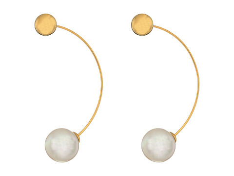 Majorica 12mm Round Gold Plated Earrings - White