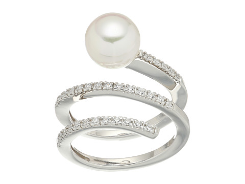 Majorica White Round Pearl and CZ Spiral Sterling Silver Ring - White